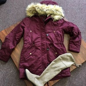 Burgundy winter fur hood statement jacket